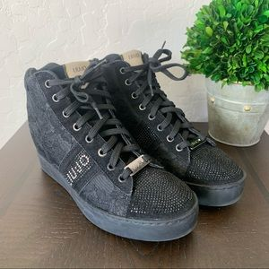 Liu Jo Black Sneakers Glitter Studs Floral Lace